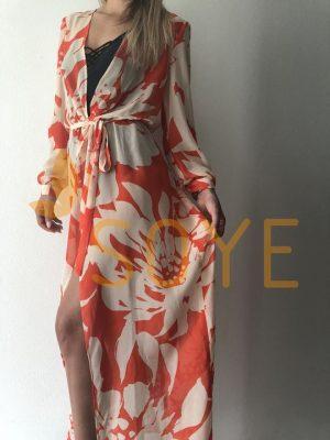 Oranžová Dlhá Tunika s Dlhým Rukávom 1 | Soye Clothing