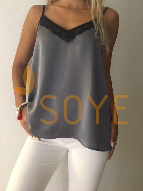 Sivé Čipkované Tielko 1  Soye Clothing